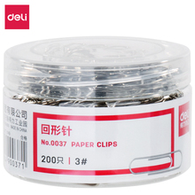 Deli paper clip 200 pcs/barrel large small middle size metal standard triangle metal paper clips good quality