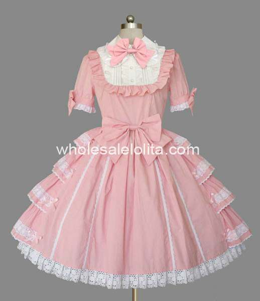 Sweet Princess Pink Cotton Short Sleeves Lolita Dress