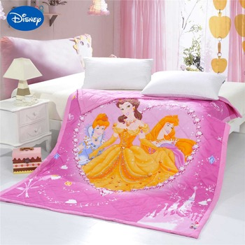 Diamond Princess Quilts Bedding Twin Single Queen Comforters Cotton Fabric Woven Disney Character Prints Pink Color Girls Summer