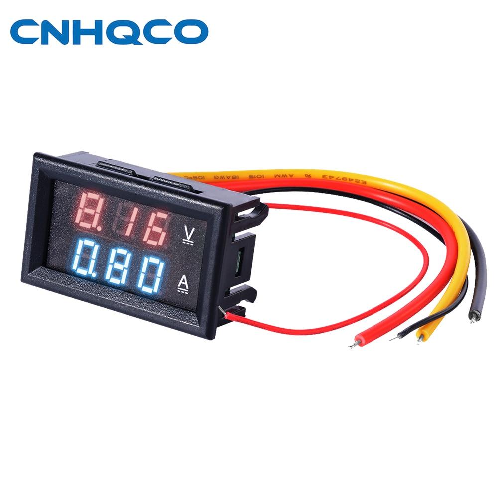 Mini Digital Voltmeter Ammeter DC 100V 10A Panel Amp Volt Voltage Current Meter Tester 0.28 Blue Red Dual LED Display AE103