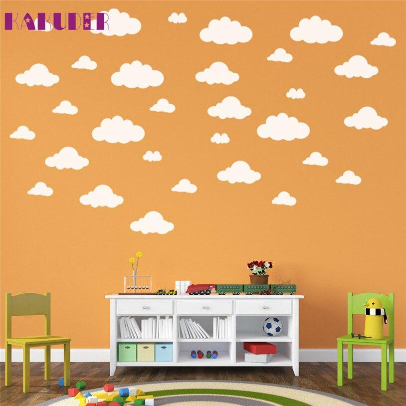 kakuder 31pcs diy large clouds wall sticker home decoration art for kids room u70410 drop ship. Black Bedroom Furniture Sets. Home Design Ideas