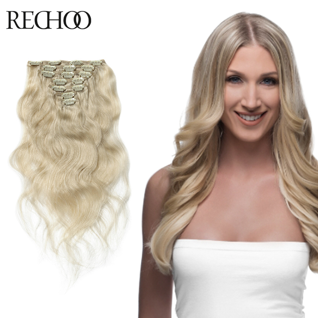 Aliexpress Buy Rechoo Human Hair Clip In Extensions Blonde