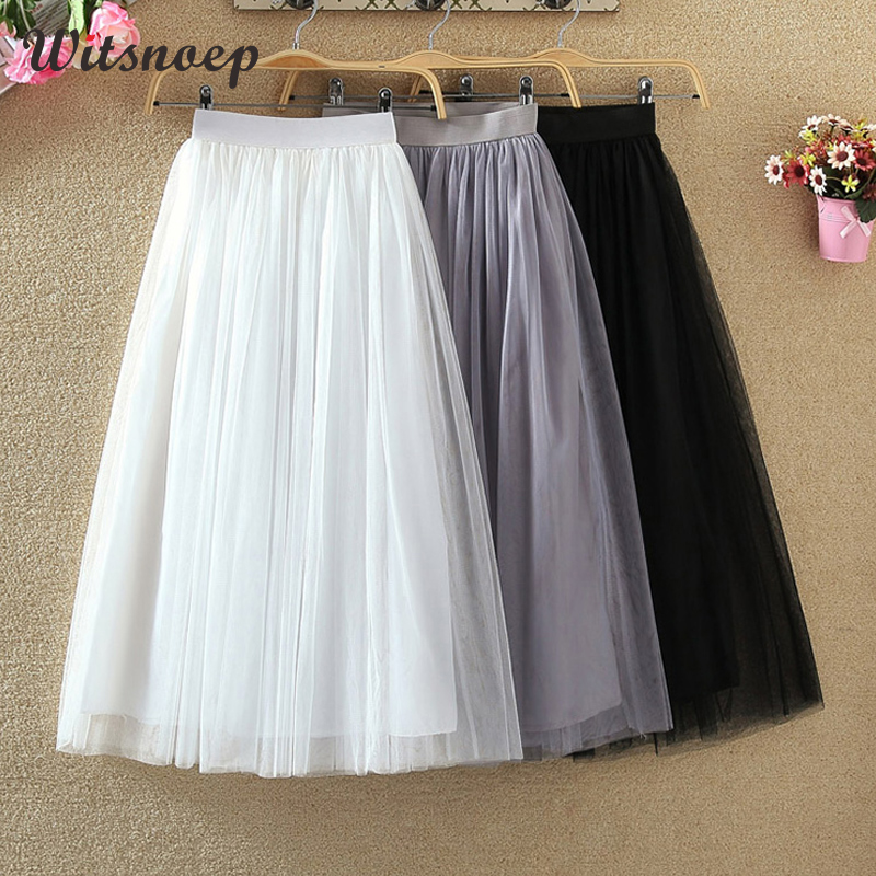 Witsnoep 3 Layers Tulle Skirts Women 2019 Autumn Long Maxi Skirt Female Elastic High Waist Pleated Tutu Skirt Black Gray White