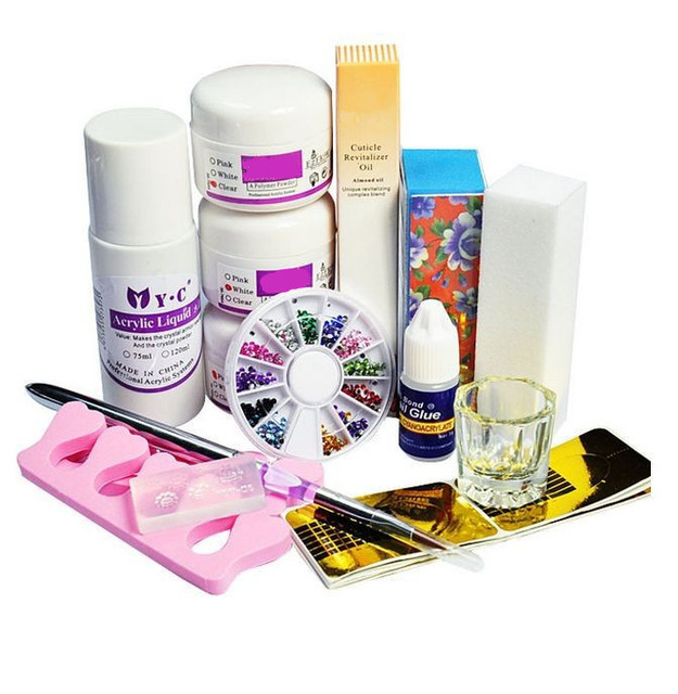 Professional Acrylic Liquid Powder Glitter Rhinestones Nail Form Brush Tools Set Kit
