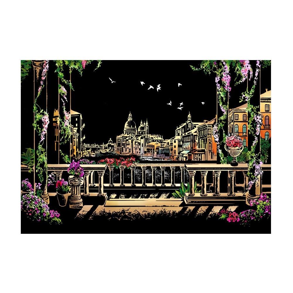 Интересный красочный ночной скретч картина Рисование бумага описать город ночная сцена подарок детям - Цвет: Venice water city