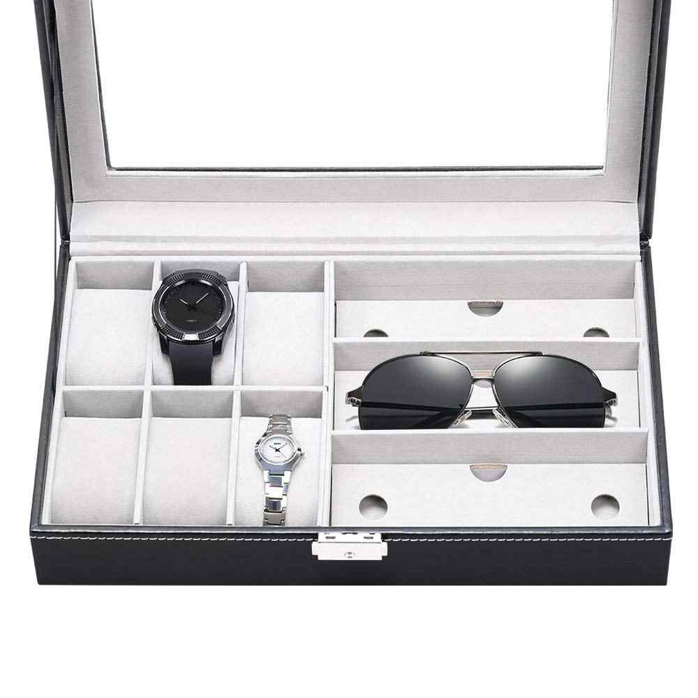 SZanbana Men & Women 9 Slots Display Watch Storage Colleciton Box with 6 Piece Watch Case and 3 Piece Eyeglasses Plus Locker
