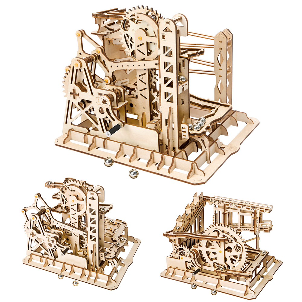 5 Kinds Wooden Toys Marble Run Game DIY Waterwheel Coaster Wooden Model Building Kits Assembly Toy Wood Puzzle Gift For Children