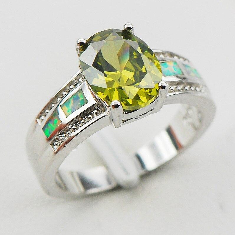 Peridot White Fire Opal 925 Sterling Silver Woman Ring Size 6 7 9 10 R1165 Fashion Wholesale Jewelry Free Shipping