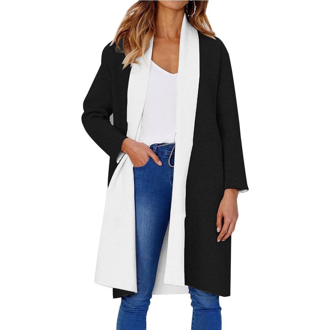 2018 Autumn Winter Women Oversized Long Coat Open Front Ladies Scarf Collar Long Sleeve Jackets Overcoat Abrigo Mujer