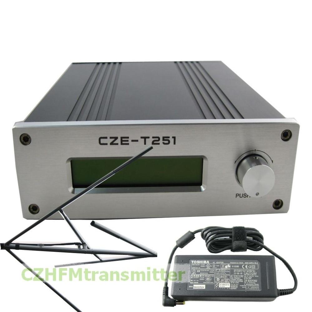 CZH CZE-T251 0-25W power adjustable Professional FM stereo broadcast transmitter +Circularly polarized FM antenna fmt 30l 30w fm transmitter 0 30w power adjustable radio broadcaster