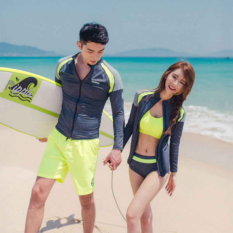 Solid patchwork yellow and grey M-3XL couples rash guards zipper long sleeves shirt bra brief leggings shorts lover surfing suit fashion long sleeves surfing suit black grey size xl page 2