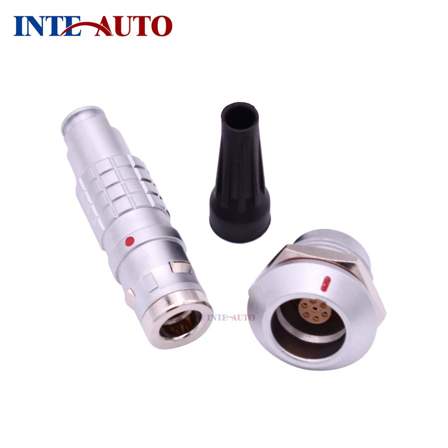 LEMO Compatible 7 pins waterproof connector,metal push pull plug receptacle,M14 size,soldr contacts,IP68, FGG.0K.307 EGG.0K.307 replace lemos m12 electrical push pull round connector m12 size brass body 8 solder contacts fgg 1b 308 phg 1b 308