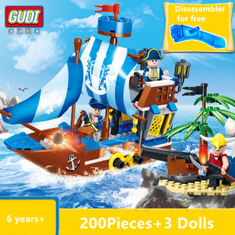 GUDI Pirates Of The Caribbean Bricks Bounty Pirate Ship Building Blocks Boat Toys Modeling Construction Toys for Children Gift