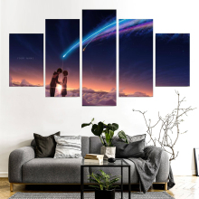 5 Panels Wall Art Your Name (Kimi no Na wa) Paintings Canvas Poster your name film poster painting frame Artwork