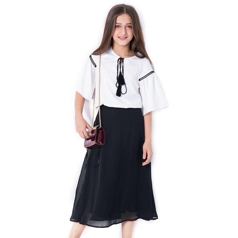 Tween Girl Fashion Black: Girls Chiffon Sets For Teenage Girls Summer White Tops