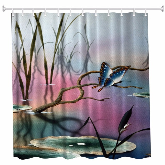 Butterfly Bathroom Shower Curtains Waterproof Polyester Fabric Bath 3D Rideau Ydouche Cortinas De Bano Cortina Ducha