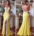 Amarelo longo 2017 Evening Vestidos Illusion Voltar Robe De Soirée Lace Sereia Vestidos Formais Para Festa de Casamento Comunhão Vestido
