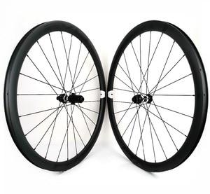 Image 5 - EVO 38mm depth road bike disc brake carbon wheels 25 width Tubeless cyclocross carbon wheelset with center lock disc brake hubs
