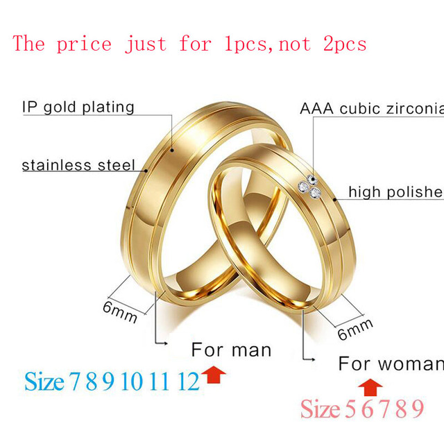 Meaeguet Fashion CZ Stone Wedding Rings For Lover Stainless Steel Couple Rings Gold-Color Anel Jewelry