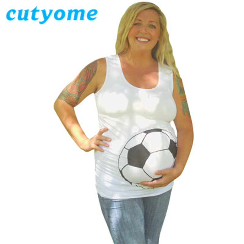 Maternity Women Tank Tops Cutyome Sleeveless Football Basketball printed Vest Summer Pre ...