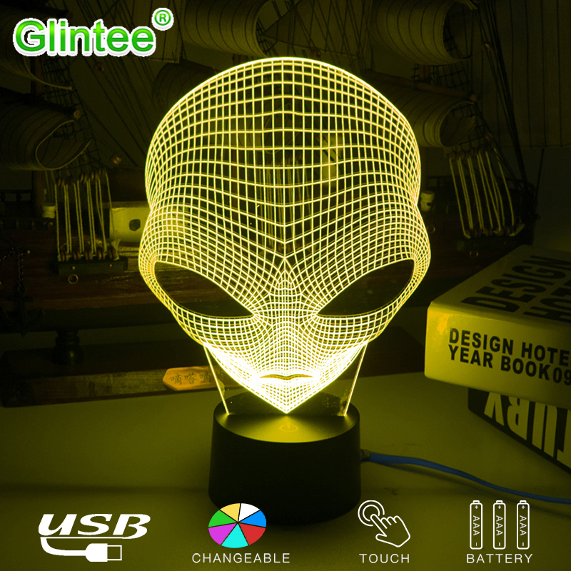Unique Alien 3D LED Acrylic Night Lights Cartoon Fashion Table Lamps USB Illusion Lighting Touch Extraterrestrial Luminous Gifts cool fortnite souvenir 3d illusion lights rgbw acrylic led night lamp touch table christmas holiday gifts rocket launcher light