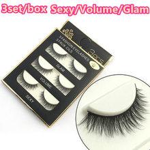 3set Dropshipping 3D fashion false eyelash sexy volume glam Naturally lengthened manual Three styles make up