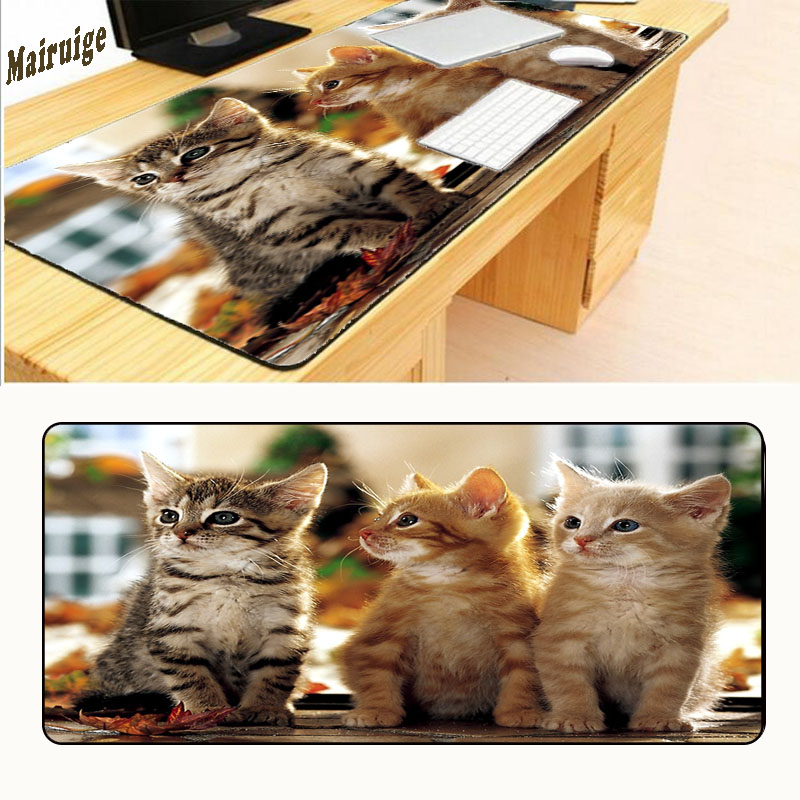 Mairuig 900x400mm Size Three Lovely Cats Black Mouse Pad Pad To Mouse Notbook Computer Mousepad Overlock Edge Big Gaming Pad