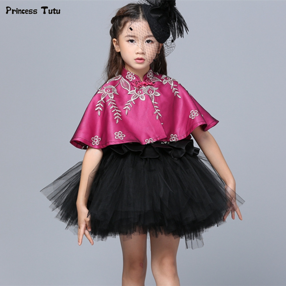 Custom Girls Wedding Flower Girl Dress Princess Party Pageant Formal Dress Black Kids Girl Tulle Ball Gown Tutu Dress With Cloak custom tulle girls dress embroidery princess dress three dimensional flower girl dress child kid wedding party pageant ball gown