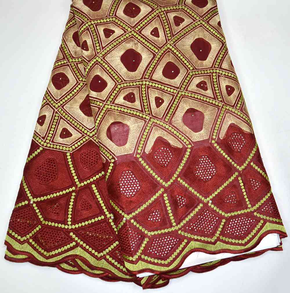 Latest 100% High Quality Maroon African Swiss Voile lace for Nigeria wedding lace fabrics 5 Yards Big lace