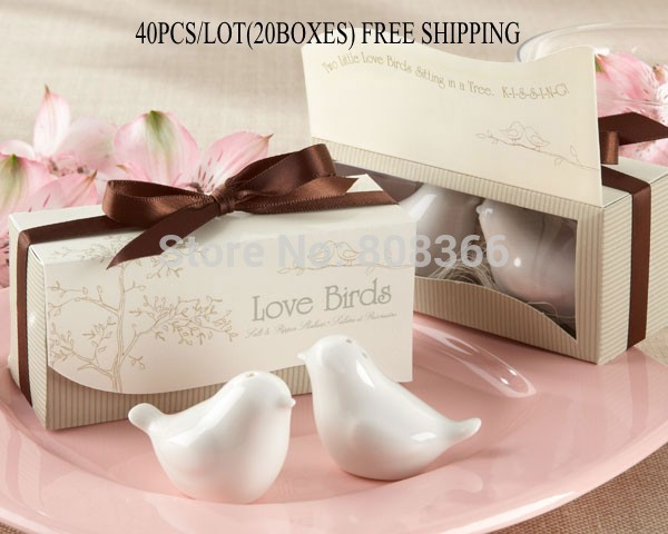 40pcs lot 20boxes Love birds ceramic Salt and Pepper shaker Wedding Favors for Cheapest Wedding gift
