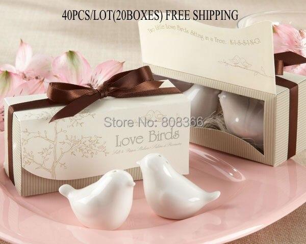 (40 unids/lote = 20 juegos) regalos de boda de cerámica con pájaros amorosos, Salero y pimentero para el regalo de boda más barato y favores de fiesta de Paloma de amor