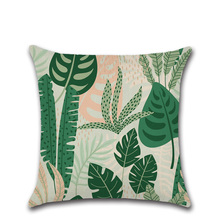 Tropical Plants Palm Leaf Green Leaves Monstera Cushion Covers Hibiscus Flower Cushion Cover Decorative Beige Linen Pillow Case цена 2017