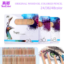 лучшая цена Truecolor Terri oily color pencil 24/36/48 color Colored Pencil Painting Set professional painting pen color lead art supplies