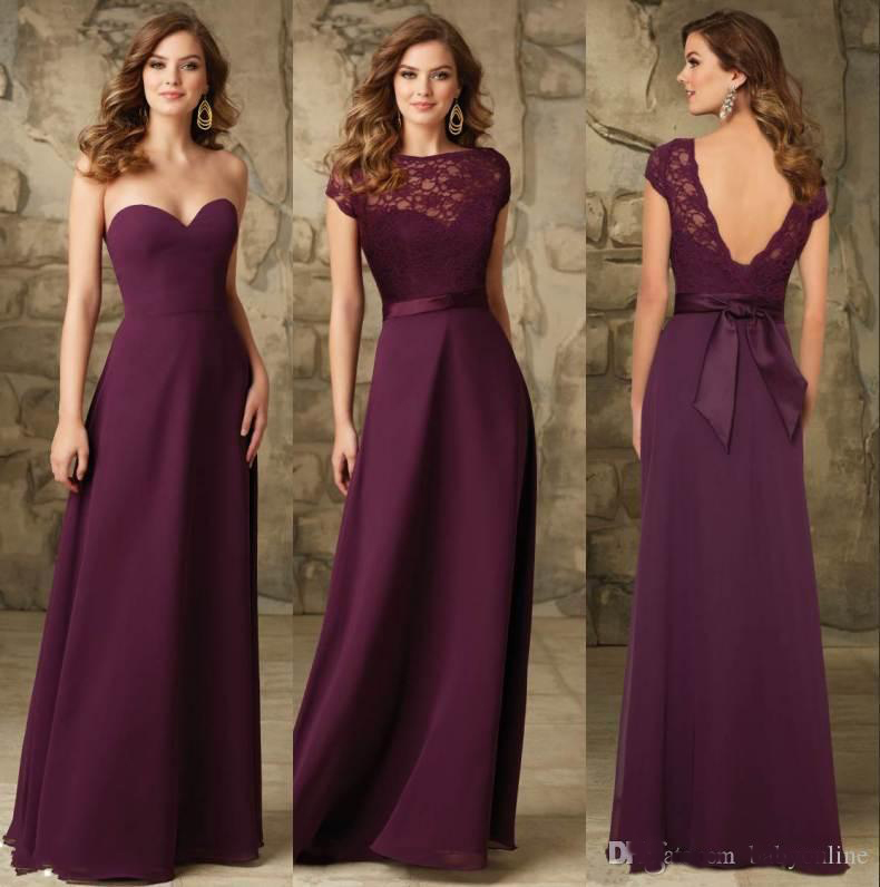 2016 a line long bridesmaids dresses backless cheap for Maid of honor wedding dresses
