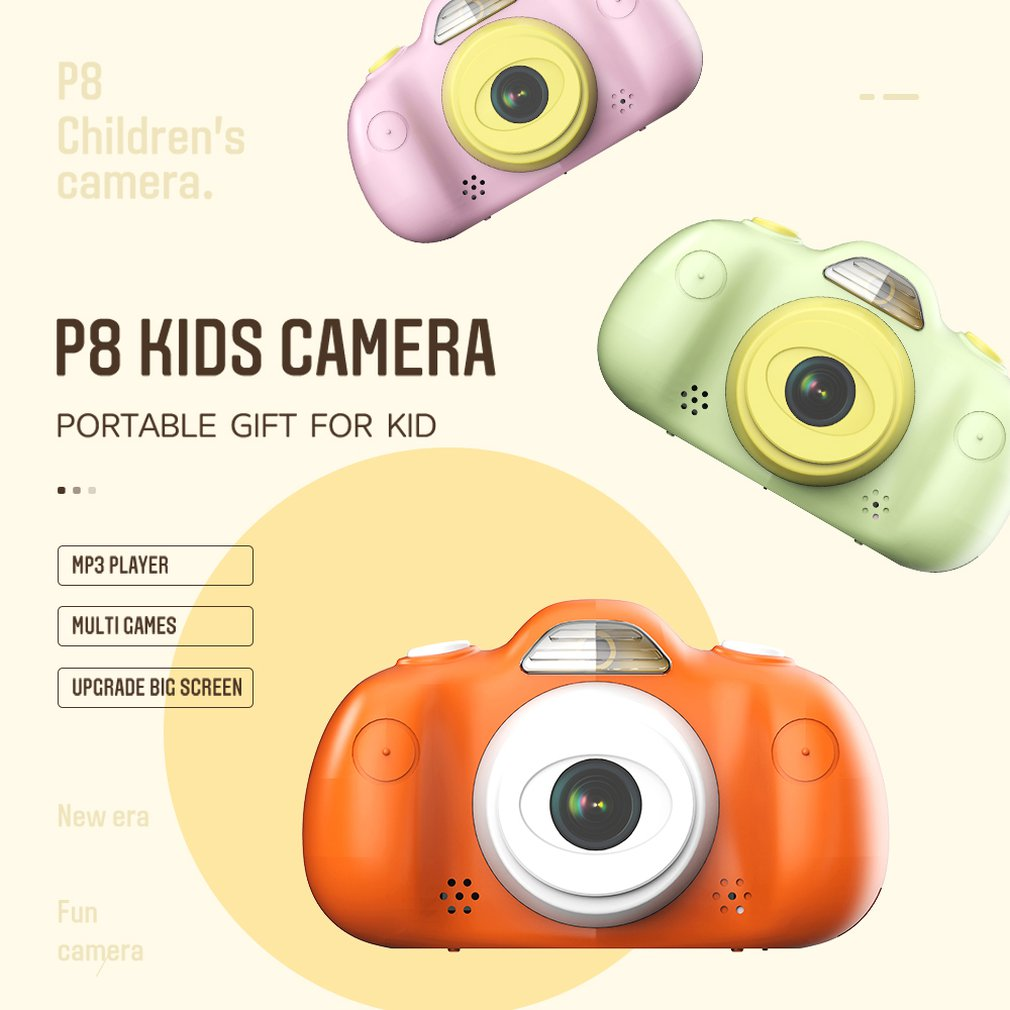 P8 Mini Children's Digital Camera 2.4 Inch HD 8MP DSLR Dual Lens Waterproof Camera Children For Home Travel Photo Use Kamera
