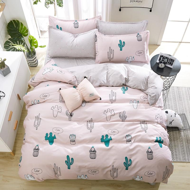 Bedding-Set Cactus Christmas-Gifts Pillowcase Duvet-Cover Flat-Sheet Soft Quality