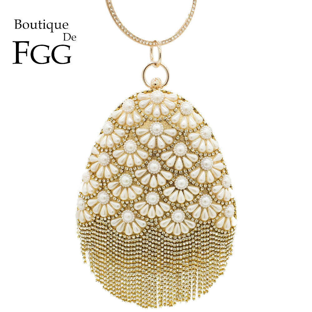 Boutique De FGG Socialite Egg Shape Women Fashion Gold Crystal Purse Evening Bags Diamond Tassel Handbags Wedding Beaded Clutch new women diamond wedding bride shoulder crossbody bags gold clutch beaded tassel evening bags party purse banquet handbags li29
