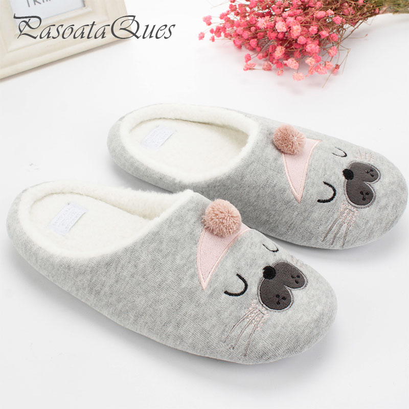 Cute cat animal pattern cotton home slippers women sandals for H m bedroom slippers