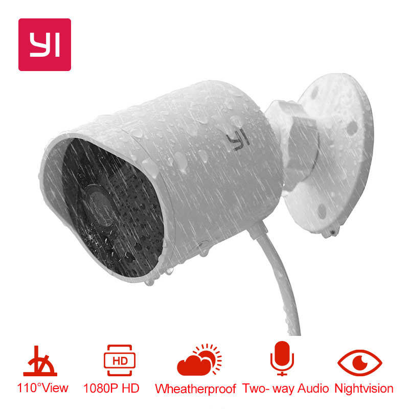 YI Outdoor Security Camera 1080P HD Two-way Audio IP Waterproof Cloud Cam Wireless Night Vision Security Surveillance System wireless security cam 960p hd video surveillance recording streamed on smart devices 2 way audio surveillance nanny or pet cam