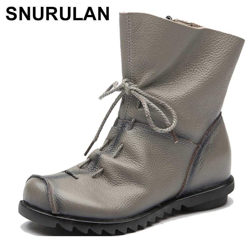 042409f5bd7ecb SNURULAN Для женщин зимние ботинки натуральная кожа ручной работы Ботинки  martin теплые меховые черные женские полусапожки