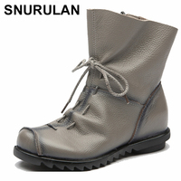 SNURULAN Women winter snow boots genuine leather handmade martin boots fur warm black woman short boots 2018 lady shoes