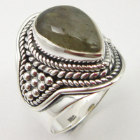 Solid Silver Labradorite Oxidized Ring Sz 6 Fancy Handcrafted Jewelry Unique Designed