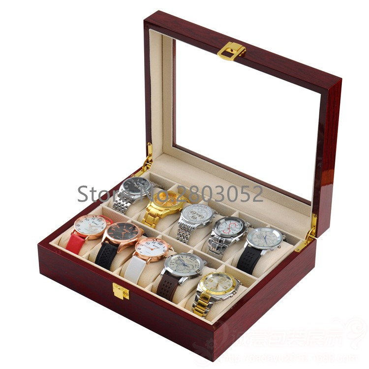 (Special Price) 10 Slots Brand Watch Display Box Light Red MDF 10 Jewelry Organizer Watches Box Skylight Watch Storage Box W031 ebaycoco jewelry women box red 20 bit box red light double drawer ladies makeup box for watch accessories and other items