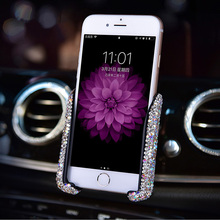 Gravity Universal Car Phone Holder Women Diamond Crystal Car