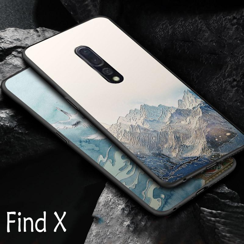 Embossed vintage East Asian Chinese Japanese style case For OPPO Find X Snow Mountain Decree Crane For FindX