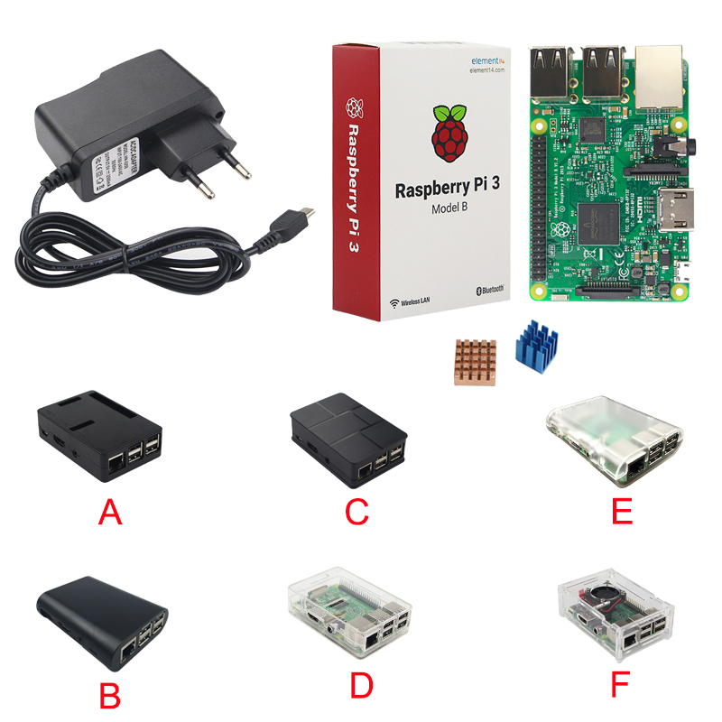 Raspberry Pi Starter kit Raspberry Pi 3 Model B + Raspberry Pi Case Box + Heat Sink + 5V 2.5A Power Adapter for Raspberry Pi 3/2 multi color case box cover for raspberry pi 2 3 b rainbow case b allows working with raspberry pi lcd and expansion board