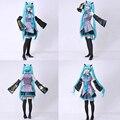 2016 New Vocaloid Miku Hatsune Cosplay Costume kit Japanese Mid Dress 10 pcs Set hatsune Miku Cosplay Without Wig