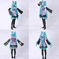 2016 nueva vocaloid miku hatsune cosplay costume kit japonés medio dress 10 unids set hatsune miku cosplay sin peluca