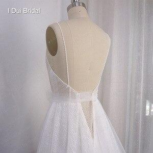 Image 5 - Boho ışık düğün elbisesi parlak sparkly tül plaj gelin kıyafeti yeni stil