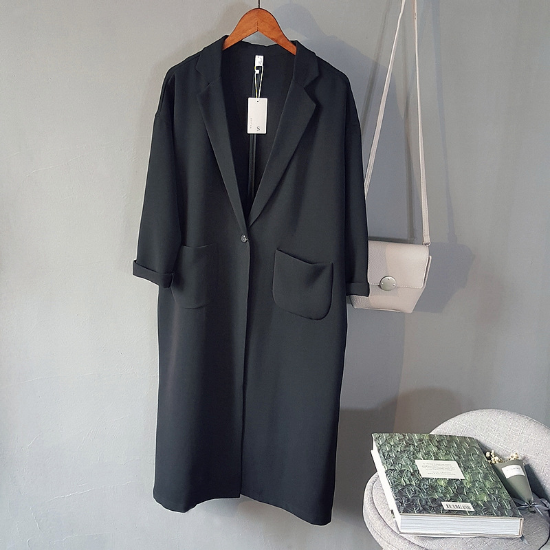 Womens   Trench   Coat Long Length Over Knee Open Stitch Thin Loose Turn Down Collar Pockets Full Sleeve Solid Blue Spring 2019